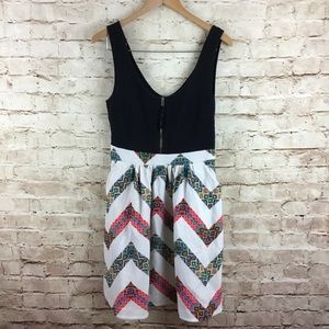 Anthropologie Maeve Black Zip Up Chevron Dress 10